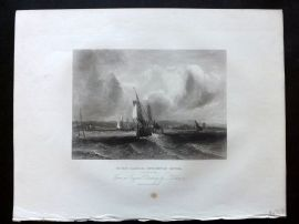 After Vickers 1834 Antique Print. Hurst Castle, Lymington River, Hampshire